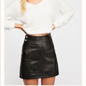 Free People  Retro Vegan Bodycon Mini Skirt, 8